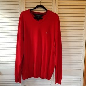 Mens XXL Red Tommy Hilfiger V-Neck Sweater